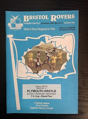 Bristol Rovers v Plymouth 1982-83 FA Cup programme