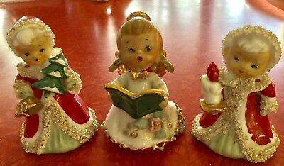 Vintage 1950s Lot of 3 Leftons Japan Christmas Angels w Bells~Issues