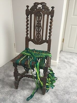 Antique Oak Wooden Barley Twist Chair