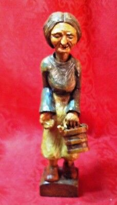 """Antique 6.5"""" Hand-Carved Wooden Old Woman Carrying Bucket"""