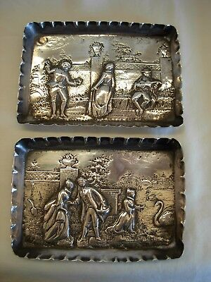 Pair Of Sterling Silver Pin Tray By John Aldwinkle & James Slater- London 1881
