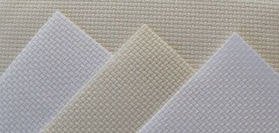 "ZWEIGART  PACK 4 pieces of 14 count  white and cream aida  fabric 6"" x 5"""