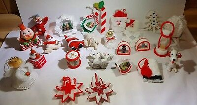 Lot of 27 Old Christmas Tree Ornaments Hand Made and Vintage