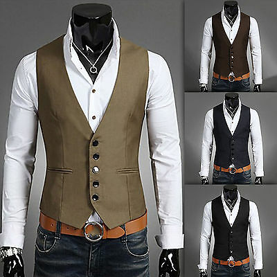 Men Waistcoat Formal Business Suit Retro Vest Slim Fit Wedding Casual Coat Top