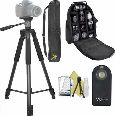 """75"""" Pro Tripod + Large Padded Backpack + Remote For Canon Eos Rebel T5 T6 T7 5D"""