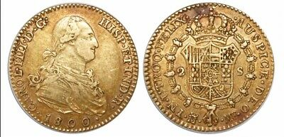 Madrid Spain 2 Escudos 1800/1790 Gold In XF Condition