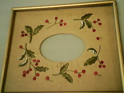 Antique Embroidery Needlework picture frame , glass