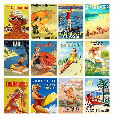 Wall Calendar 2018 [13pages A4] Vintage Travel Posters Pin Up Summer Surf M411