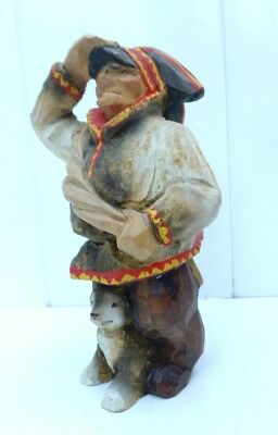 Norwegian HENNING LAPLAND MAN WITH PUPPY - FOLK ART CARVING FROM NORWAY - SAMI