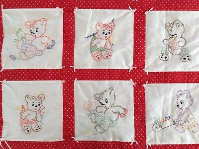"""Vintage Handmade Embroidered Baby Quilt, Red Hearts Mischievous Bears, 34"""" x 45"""""""
