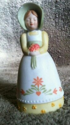 Vintage Avon Lady In Yellow Dress Bell, 1985