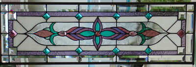 Stained Glass window Transom or Sidelight  hanging  37 X 12 1/2