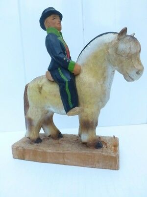 """Norwegian LARGE HENNING 9""""  FJORD HORSE + RIDER - SIGNED - WOOD CARVING - Norway"""