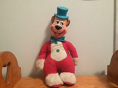 "VINTAGE KNICKERBOCKER HUCKLEBERRY HOUND PLUSH, 1950's, RUBBER FACE, 15"" TALL"