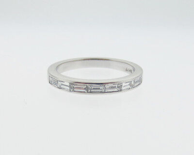 Genuine 3/4ct tw Baguette Diamonds Solid 14k White Gold Ring 3mm Band Size 7.5
