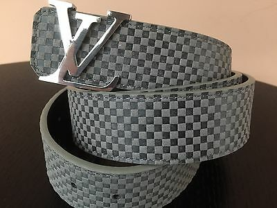 NEW Fashion Belt Soft Gray Leather with Silver LV Buckle 50""