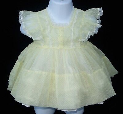 Vintage Sheer Yellow Dotted Swiss Pinafore Baby/Toddler Dress - Castro & Co.