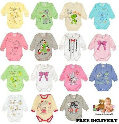 100% Cotton Baby girls boys Long Sleeve Bodysuits 0 - 18 months NEW