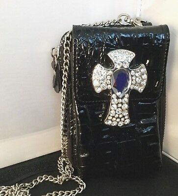 Womens Purse Cell Phone Case Shiny Black Cross Bling Rhinestone Chain X Body
