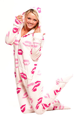 Unisex Chenille Kisses Fleece Footed Pajamas - Adult Sized Pink Hooded PJ