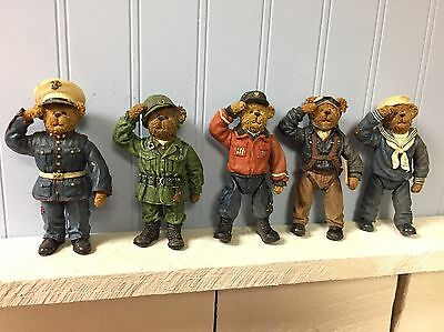 Boyds Bears Resin Military Soldiers Set Of 5