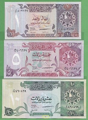 Qatar 1, 5 & 10 Riyals issued 1996 - XF or Better condition, Ref. P14, 15 & 16