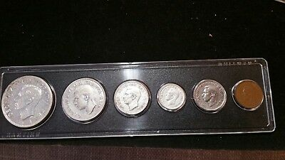 1949 .. Canada .. Silver Coin Set .. Dollar .. 50 cents .. 25 c .. 10 c  5c  1c