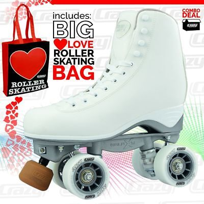 Celebrity ART Classic Hi White Quad Roller Skates with LOVE ROLLER SKATING BAG!!