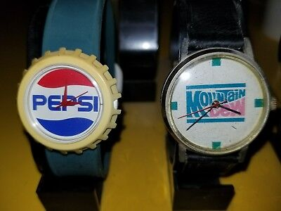 Vintage Set Mountain Dew and Pepsi Cola Watches