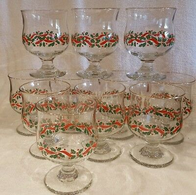 Set of 11 Libbey Christmas Holly Berry Short Water Wine Goblet - Sherbets
