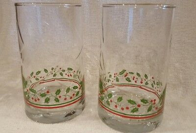 Set of 2 Vintage 1984 ARBY'S Christmas Gold Rim Holly Berry Tumblers