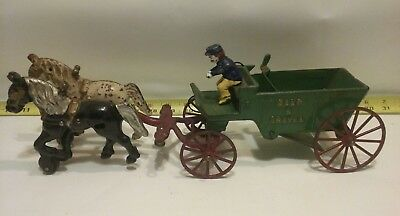 Lancaster Pa.  ANTIQUE Cast Iron Sand & Gravel Horse Drawn Wagon with Rider