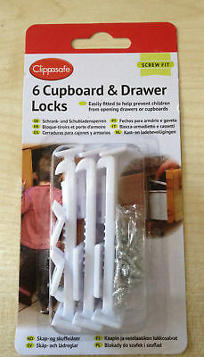 Clippasafe Cupboard Drawer Lock Secure Catches 6 Pack Safety Baby Child Proofin