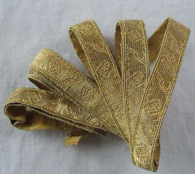 Vintage Gold Metallic Trim Repeating Scrolled Leaf Design 2 Yrds + French