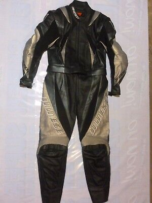 Dainese Motorbike Two Piece Leather Suit Never Used Sz 50 Black Grey Motorcycle