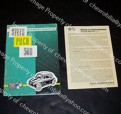 1958 59 STEYR PUCH 500 Owners Manual INSTRUCTION BOOK Micro Car FIAT 500 Austria