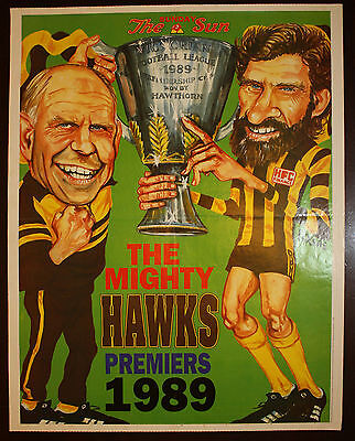 1989 Herald Sun Hawthorn The Mighty Hawks Premiers poster Grand Final