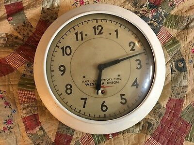 "1930s Vintage Western Union Self Winding Naval Observatory Time Clock 15""Gallery"