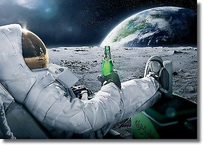 Astronaut Space Moon Funny Scene Wall Art CANVAS Print A0 A1 A2 A3 A4