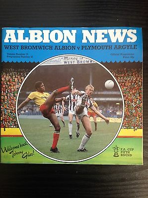 West Brom v Plymouth 1983-84 programme