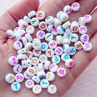 ** CLEARANCE ** 250 x Alphabet Letter Round Beads, 7mm, Mixed Colours, FREE POST