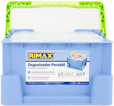 "Rimax Portable Organizer W/Removable Trays-12.25""X7.6""X9"" Blue & Green, Part RM0"