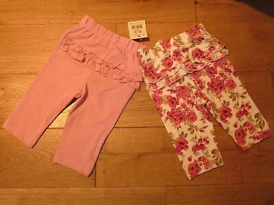 George Baby Girls 2 Pack Frilled Leggings Bottoms 0-3 Months BNWT Pink/Floral