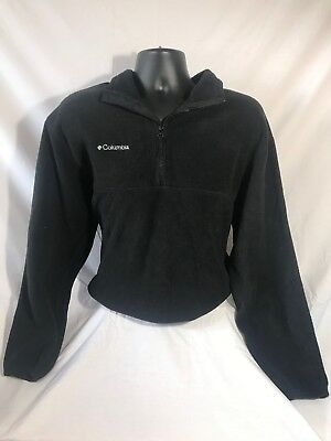 COLUMBIA mens 100% Polyester Solid Black Half-Zip Jacket size M EUC