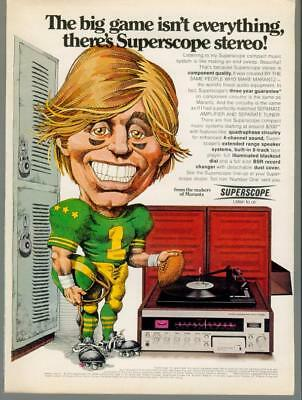 1974 Marantz Superscope Stereo Record Player Amplifier Football Vintage Print Ad