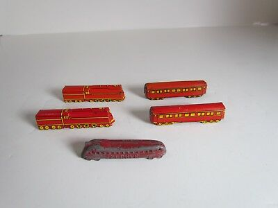 1930s 40s Cracker Jack Prizes Tin Streamline Red 2 Trains 2 Cars & Zephyr Train