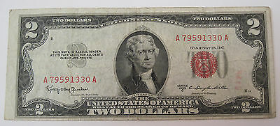 1953 C Two Dollar red seal United States Note Currency (#89b)