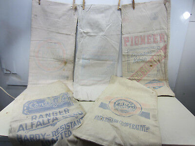5 Vintage Heavy Cloth Feed Sacks-Certified & Farm Bureau