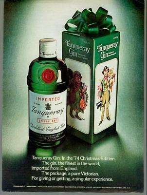 1974 Tanqueray Gin Christmas Edition Gift Victorian Holiday Vintage Print Ad