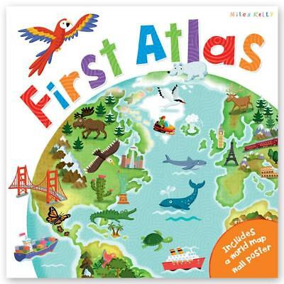 Children's First Picture Atlas With World Map Poster Hardback NEW Geography Kids
